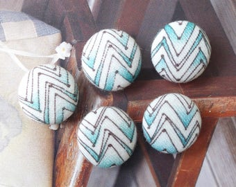 Chic Mint Colorway Geometry Geometric Aztec Stripe Sawtooth Wave Lines-Handmade Fabric Covered Buttons(0.75 Inches, 5PCS)