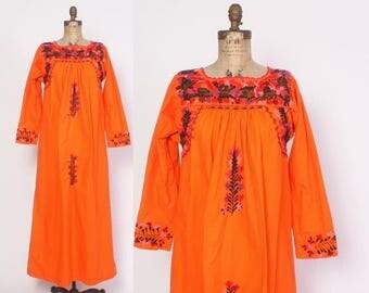 Vintage 70s OAXACAN DRESS / 1970s Embroidered  Orange Boho MEXICAN Festival Maxi Dress