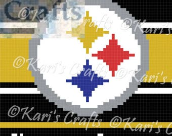 Pittsburgh Steelers C2C Afghan PDF Pattern Graph + Written Instructions - Instant Download