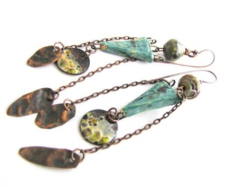 Exigency of Purpose - Enamel, Lampwork, Ceramic Charms with Copper Chains Long Dangly Boho NuministaChic Earrings