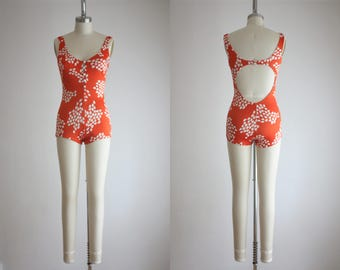 1970s copper leaf swimsuit