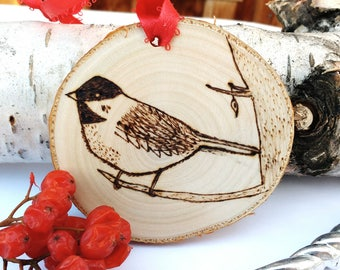 Wood Burned Chickadee Ornament, Rustic Canada Ornament, Birch Tree Slice Ornament, Custom Ornament, Personalized Ornament