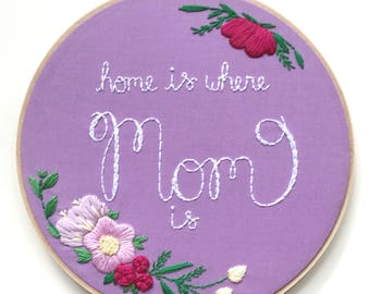 Purple Home is Where Mom Is Sign, Mother's Day Gift, Gifts for Mom, Floral Gift for Mom, Gift for Mom Under 75, Gift for her, KimArt Designs