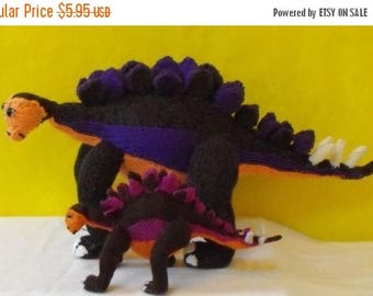 40% OFF SALE Instant Digital File PDF Download knitting pattern - Stegosaurus and Baby Dinosaur Toy pdf download knitting pattern