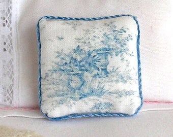 1:12 Pillow - Blue Toile Urns- Handmade Dollhouse Scale Miniature - Shabby Cottage Chic *Free Shipping*