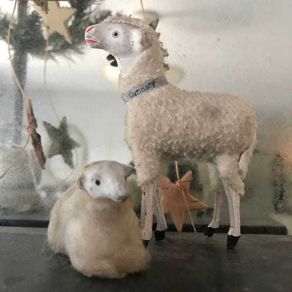 Lamb German, Christmas Antique, antique Christmas, Victorian Christmas, Victorian Lamb, made very old treasure