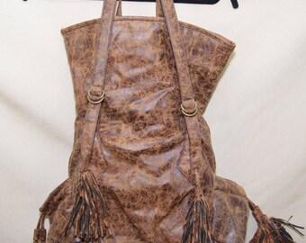 Vintage Boho Faux Distressed Leather Purse