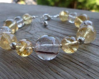 Natural Unheated Red Rutilated Quartz and Citrine and Sterling Silver Birthstone Gemstone Bracelet