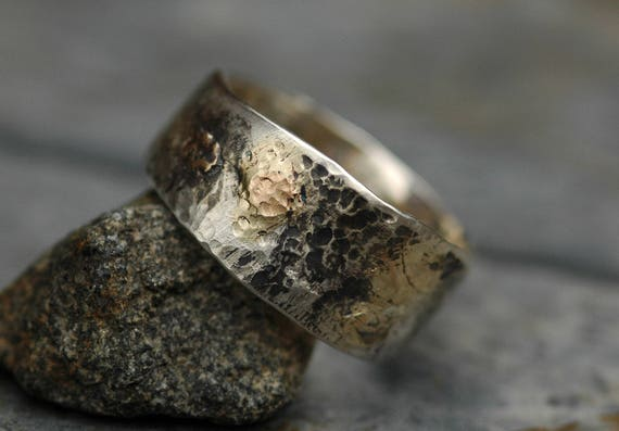 Sterling Silver and Yellow Gold Band- Ready To Ship Size 9 Mixed Metal Ring