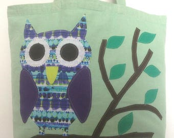 Owl on reusable, recycled cotton tote bag
