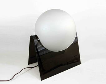 Vintage Modernist Globe Table Lamp with Black Lucite Base. Circa 1970's.