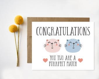 Funny Wedding Card Printable, Quirky Congratulations Card, Engagement Card, Perfect Match, Cats, Cat Lovers, Purrfect Match