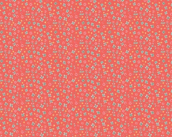 Blend Fabrics Hill and Dale Collection Forget me Not in Coral, by Ana Davis