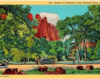 Vintage Utah Postcard - Temple of Sinawava at Zion National Park (Unused)