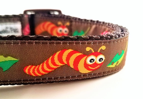 Little Inchworm Dog Collar / Bugs / Dog Collar / Small Dog Collar / Large Dog Collar / Adjustable / Worms / Dog Lover / Pet Accessories