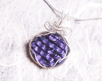 Handmade Dichroic Silver Wire Wrap Fused Glass Pendant Necklace