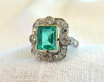 Circa 1920 Emerald, Diamond and Platinum Ring