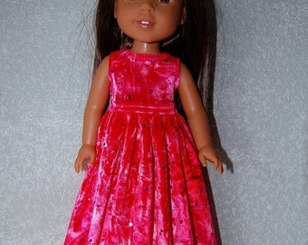 """Spring Sale Long Dress for 14"""" Wellie Wishers or Melissa & Doug Doll Clothes Pink Sparkle velvet tkct1148 READY TO SHIP"""