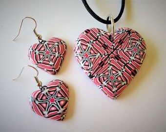 All My Hearts - Pendant and Eariings SET - Pink Black White - Polymer Clay Jewelry