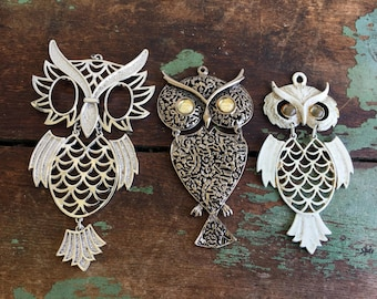 Vintage 1970's lot of 3 Articulated Owl Pendants Jewelry Supplies