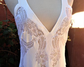 MADE IN ITALY Vintage Bridal White Full Length Nightgown White Lace Inset Bodice Size M