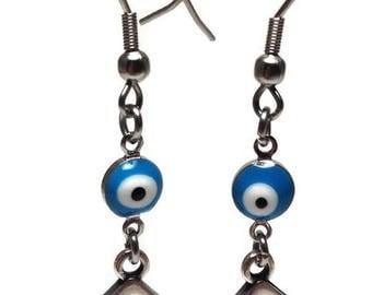 Evil eye Greek key earrings - enamel & silver rhodium - stainless steel - protection - Good luck