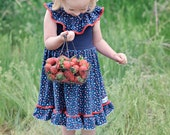 4th of July Dress for girls, patriotic dress, ruffle neck, ruffle dress, red white and blue, knit dress, twirl dress, summer, Melon Monkeys