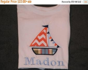 ON SALE PERSONALIZED Sailboat Shirt or Bodysuit  Monogrammed Tee personalized Applique