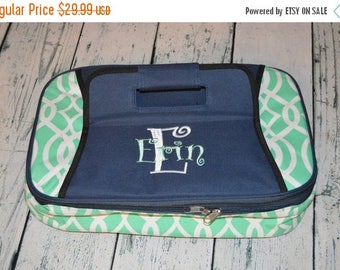 ON SALE Personalized Casserole Carrier Aqua with Navy  handle Casserole Tote  Monogrammed