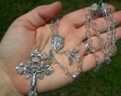 Clear Czech Glass Angel Rosary Prayer Beads, Catholic Gift, First Communion, Confirmation, Wedding, Baptism Rosary, Christening Gift