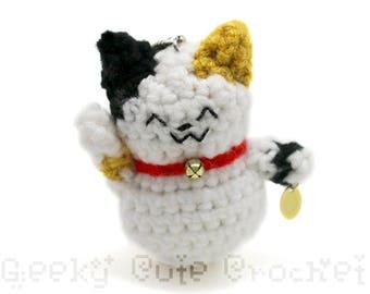 Good Luck Maneki Neko Cat Kitty Amigurumi Keychain