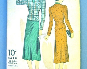 Unused 1930s DuBarry 2104B Vintage Sewing Women's 30s Suit Pattern    Bust 30 inches