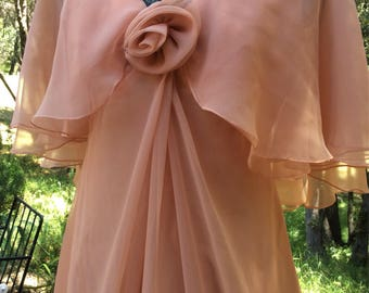 "Vintage Emma Domb 1960-1970 Flowing Peach Pink Long Prom Evening Gown 34"" Bust S-M"