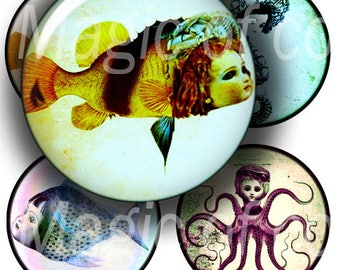 Dolls from the Sea  - 35  1 Inch Circle JPG images - Digital  Collage Sheet