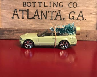 Ford Mustang Shelby Convertible Carrying Christmas Tree Ornament