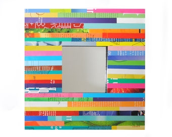 COLORFUL square mirror- made from recycled magazines, square, strips of paper, bright, multi-colored, art,design, interior designer,unique