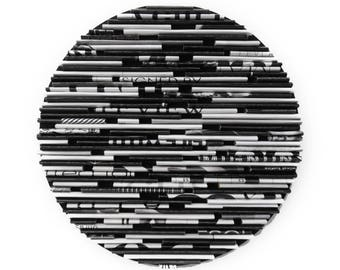 BLACK and WHITE round wall art- made from recycled magazines, unique 6 inch circle, modern, bold, bright, grey, black, white,texture,classic