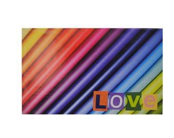 rainbow LOVE- unique handmade wall art, original, recycled magazines, ransom note letters, one of a kind, book cover, colorful, bright, bold