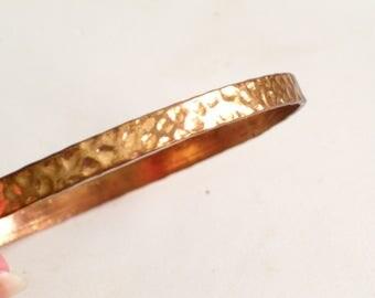 Hammered Copper Bangle, Vintage Copper Plated Bangle Bracelet, Thin Copper Bangle, Vintage Bracelet, Copper Bracelet, Vintage Copper Jewelry