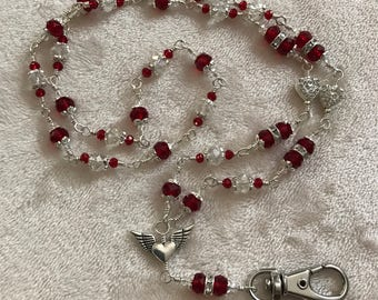 Red and Clear Crystal Lanyard/Badge Holder