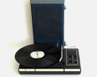 Vintage Philips GF 523 portable record player in deep blue color, space Age era made in Holland 1970tees