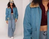 Denim Jacket 70s Jean Jacket Boho FAUX FUR COLLAR Bomber Jacket Blue Biker Vintage Bohemian 1970s Hipster Zip Up Large