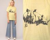 Rhino Shirt 80s TShirt MILWAUKEE COUNTY ZOO Animal T Shirt Rhinoceros Shirt Graphic Tee Retro Vintage 70s Paper Thin Burnout Yellow Medium