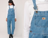 Denim Overalls Bib Jean Pants Baggy Overalls 90s Grunge Suspender Long Jean Straight Leg Jeans Vintage Extra Small xs