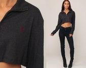 Ralph Lauren Shirt Cropped Shirt Polo Sport Zip Up Crop Top Grey Shirt 90s Polo Sport Vintage Retro Medium