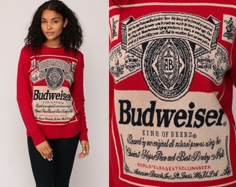 Budweiser Sweater Beer Sweater Drinking Shirt Vintage Sweater Red Pullover Alcohol Grunge Jumper Retro Slouch Graphic Party small
