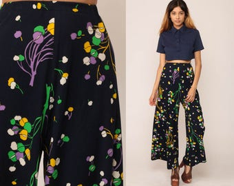Bell Bottom Pants Floral PALAZZO Pants Bohemian 70s PSYCHEDELIC Hippie Trousers High Waisted Boho Festival Blue Wide Leg Small Medium