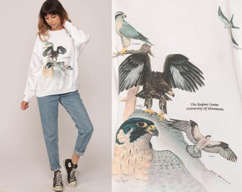 Eagle Sweatshirt RAPTOR CENTER 90s Bird Shirt University of Minnesota Graphic Print Jumper Slouchy Sweater Vintage Screen Print Large