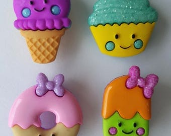 SO SWEET Ice Cream Lolly Cupcake Doughnut Donut Summer Dress It Up Craft Buttons - NEW theme for 2017 :-)
