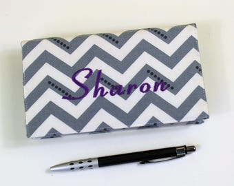 "Personalized ""Sharon"" Chevron Checkbook Cover for Duplicate Checks with Pen Holder, Gray White Cheque Book, Ready to Ship!"